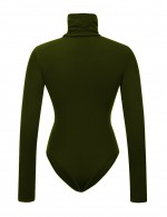 Entrancing Army Green Bodysuit Long Sleeved Solid Color Button Casual Fashion
