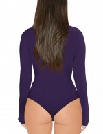 Flowing Purple One Piece Bodysuit High Cut Snap Button Sheath