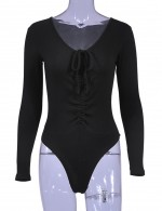 Beautifully Designed Black Pure Color Tight Bodysuit Front Knot Snug Fit