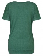 Awesome Green Wrinkle Round Neck Shirts Short Sleeves Womenswear
