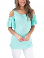 Perfectly Light Blue Scoop Neck Blouses Crossover Strap Cut Shoulder