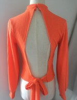 Relaxing High Collar Orange Sweater Knot Backless Full Sleeves Simplicity