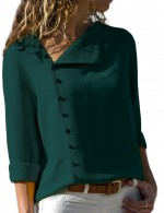 Blackish Green Fashion Irregular Collar Tops With Buttons Form Fit