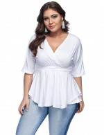 Faddish White V Neck Ruched Tops Queen Size For Female