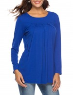 Refreshing Long Sleeve Pleated Shirt Dark Blue Round Neck Comfort