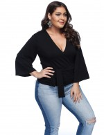 Catching Black Plus Size V Neck Tops Bell Sleeves Casual Fashion