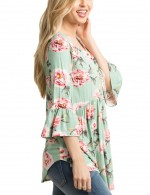 Green Ruching Flower Blouses 3/4 Horn Sleeves Fashion Style