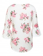 Cutie White Floral Print 3/4 Horn Sleeve Blouses Womens
