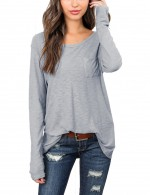 Refreshing Gray Comfort Long Sleeve Round Neck Blouses