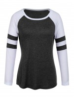 Staple Black Big Size Long Sleeves Tops Round Neck Women