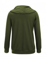 Faddish Army Green Sweatshirt Drawstring Pockets High Collar Super Sexy
