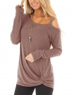 Alluring Brown Single Shoulder Strap Top Long Sleeve Women Outfit