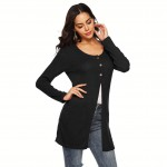 Brightly Black Button Down Big Size Cardigans Long Sleeves Fashion Online