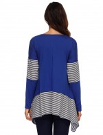 Refreshing Blue Full Sleeved Sweatshirt Asymmetrical Hem Stripes Comfort