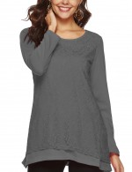 Dishy Grey Full-Sleeved Tops Double Layers Classic Clothing