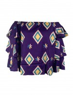 Dazzles Purple Blouse Geometric Pattern Retro Off Shoulder Shop Online