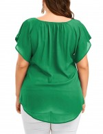 Dishy Green Cami Straps Front Knot Tees Plus Regular Hem