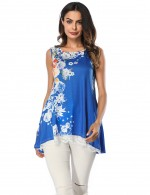 Sapphire Blue Sleeveless Shirts Quick Drying Lace Flare Hem