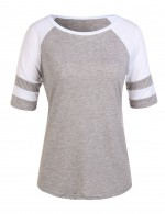 Round Neck Slinky Grey Plus T-Shirts With Stripes Feminine Curve