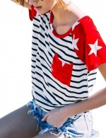 Short Sleeved Shirt Stripes Patchwork Womens Trendy Clothes