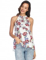 Sophisticated White Hollow Out Tank Top Swing Hem
