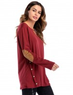 Flirting Wine Red Side Button Elbow Patched Sweatshirt Comfort Fashion
