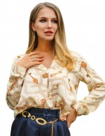 Breathable Beige Shirt Irregular Hem Ruched Chain Pattern Cheap Fashion Style