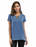 Classical Blue Round Neck T-Shirt Short Sleeves Chic Online