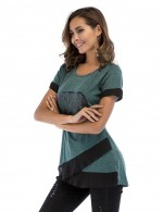 Good-Looking Green Tops Crew Collar Mesh Stitching Nice Quality