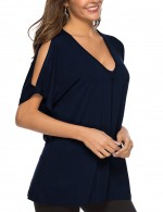 Distinct Navy Blue Blouse Plunging Neck Short Sleeves Plain Female Grace