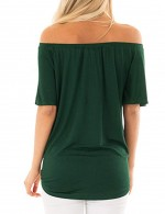 Absorbing Blackish Green Blouse Single Breasted Irregular Hemline Smooth