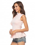 Contouring Pink Asymmetric Ruffle Sleeveless Blouse Back Zipper Casual Fashion