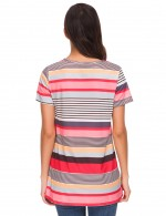 Absorbing Red Mixed Stripe Print T-Shirt Short Sleeves For Upscale