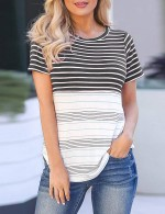 Scintillating Black Round Neck Stripes Contrast Color T-Shirt Casual