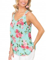 Best Floral Print Lake Blue Sleeveless Flower Tank Top Elegance