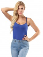 Bamboo Fiber Modest Sapphire Blue Sleeveless Tops Women's Fashion