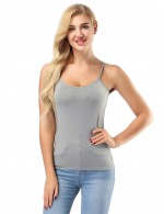Shimmer Grey Adjustable Camisole Tops Stretch For Playing