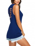Contouring Blue Hollow Out Back Camisole American Flag
