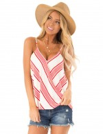 Brilliant Red Sling Stripe Print V Neck Vest Top Wrap Comfort Fashion