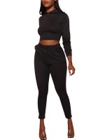 Ravishing Black Lace-Up Crop Top High Waist Pants Fashion Insider