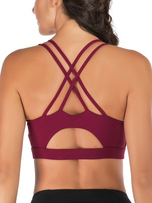 Breathable Wine Red Athletic Bra Solid Color X-Intersection Leisure Wear