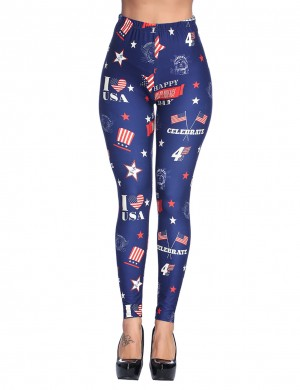 Casual Navy Blue Printed Brushed Leggings Independence Day Ladies Female Fashion