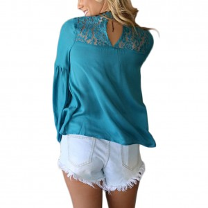 Casual Solid Blue Lace Patchwork Blouse Hollow Out Puff Sleeve Female Fashion