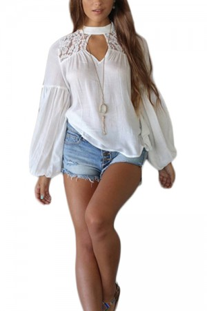 Casual Dreamy White Banded High Collar Blouse Lace Cut Out Female Fashion