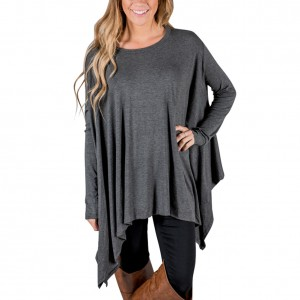 Casual Smart Grey Ruffled Irregular Trim T-Shirt O-Neckline Female Fashion