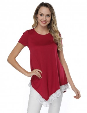 Casual Wine Red Asymmetric Floral Lace Hem Top Cheap Fashion Style Female Fashion