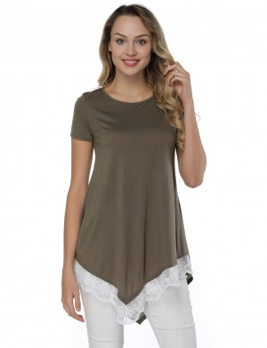 Casual Army Green Lace Patchwork Asymmetry Blouse Ladies Female Fashion