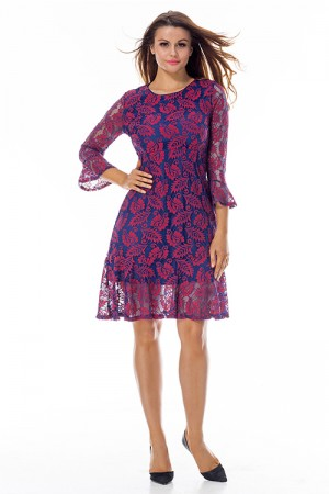 Classic Purple Flowy Ruffle Mini Dress Floral Lace Overlay