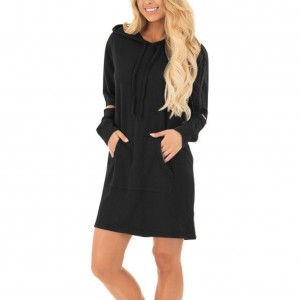 Flowing Black Cut Out Sleeve Side Pocket Hooded Dress