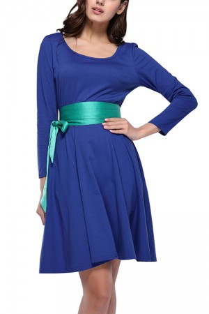 Nicely Blue High Waist Swing Dress With Long Ribbon Sash